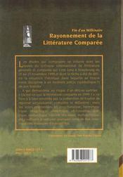 Fin D'Un Millenaire. Rayonnement De La Litterature Comparee. Colloque De Strasbourg, 25-27 Nov. 199 - 4ème de couverture - Format classique