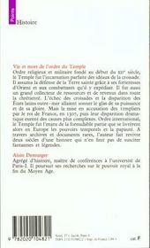 Vie Et Mort De L'Ordre Du Temple (1118-1314) - 4ème de couverture - Format classique
