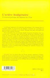 Ordre Budgetaire (L') - 4ème de couverture - Format classique