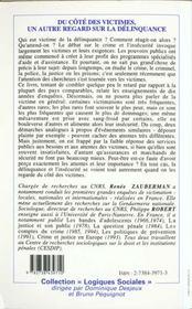 Du Cote Des Victimes Un Autres Regard Sur La Delinquance - 4ème de couverture - Format classique