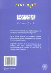 Logimath 1 / 2 - 4ème de couverture - Format classique