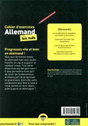 Cahier d'exercices allemand pour les nuls ; niveau intermédiaire - 4ème de couverture - Format classique
