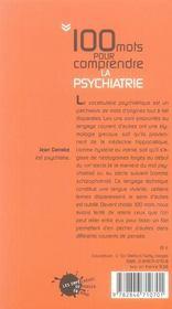 100 mots pour comprendre la psychiatrie - 4ème de couverture - Format classique