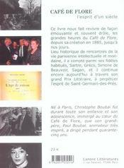Cafe De Flore L'Esprit D'Un Siecle - 4ème de couverture - Format classique