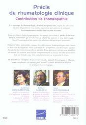 Precis De Rhumatologie Clinique - Contribution De L'Homeopathie - 4ème de couverture - Format classique