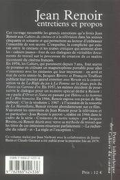 Jean Renoir, entretiens et propos - 4ème de couverture - Format classique