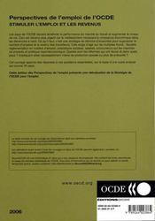 Perspectives de l'emploi de l'ocde ; stimuler l'emploi et les revenus (edition 2006) - 4ème de couverture - Format classique
