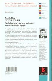 Coachez Votre Equipe - 4ème de couverture - Format classique