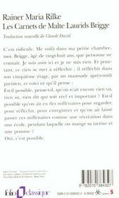 Les carnets de malte laurids brigge - 4ème de couverture - Format classique