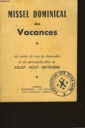 Missel Dominical Des Vacances - Couverture - Format classique