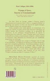 Voyage A Syros, Smyrne Et Constantinople - 4ème de couverture - Format classique