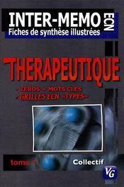Thérapeutique t.1 ; ECN ; fiches de synthèes illustrées - Intérieur - Format classique