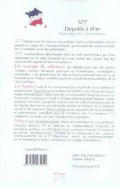 577 députés à élire ; dictionnaire des circonscriptions - 4ème de couverture - Format classique