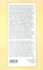Critique De L Existence Capitaliste Introduction A Une Ethique Existentielle De L Economie - 4ème de couverture - Format classique