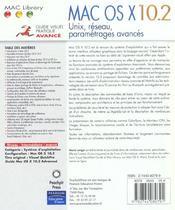 Mac Os X 10.2 Avance - 4ème de couverture - Format classique