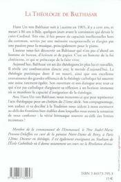 Theologie De Balthasar - 4ème de couverture - Format classique