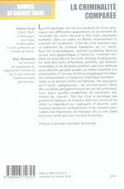 La criminalite comparee, t.2, vol. 5 - 4ème de couverture - Format classique