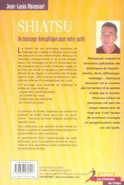 Shiatsu ; un massage énergétique pour votre santé - 4ème de couverture - Format classique