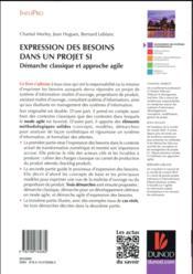 Expression des besoins dans un projet SI ; démarche classique et approche agile - 4ème de couverture - Format classique