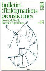 Bulletin D'Informations Proustiennes N.19 - Couverture - Format classique