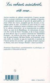 Les Cabinets Ministeriels, Cote Cour... - 4ème de couverture - Format classique