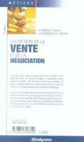 Les métiers de la vente et de la négociation - 4ème de couverture - Format classique