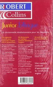 Junior bilingue anglais - 4ème de couverture - Format classique