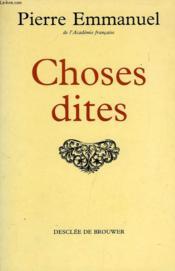 Choses Dites - Couverture - Format classique