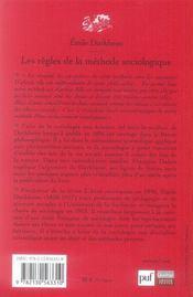 Les regles de le methode sociologique 13e edition - 4ème de couverture - Format classique