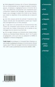 Geographie Physique De La France - 4ème de couverture - Format classique