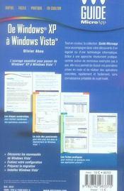 De windows xp à windows vista (2e édition) - 4ème de couverture - Format classique
