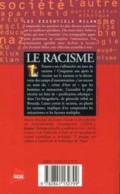 Le racisme - 4ème de couverture - Format classique