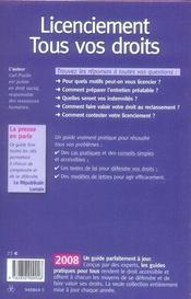 Licenciement : tous vos droits (édition 2008) - 4ème de couverture - Format classique