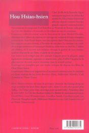 Hou hsiao-hsien - 4ème de couverture - Format classique