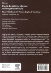 Netter ; précis d'anatomie clinique et en imagerie médicale - 4ème de couverture - Format classique