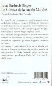 Le Spinoza de la rue du Marché - 4ème de couverture - Format classique