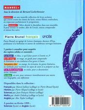 Francais Lycee - 4ème de couverture - Format classique