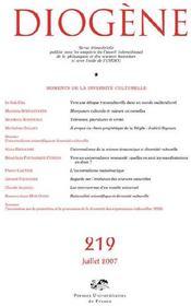 REVUE DIOGENE N.219 ; moments de la diversité culturelle - Couverture - Format classique