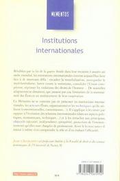 Institutions internationales - 4ème de couverture - Format classique