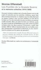 Les Fusilles De La Grande Guerre Et La Memoire Collective (1914-1999) - 4ème de couverture - Format classique