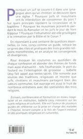 Pour comprendre les pratiques religieuses des juifs, des chretiens et des musulmans - 4ème de couverture - Format classique