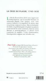 La crise du plaisir (1740-1830) - 4ème de couverture - Format classique