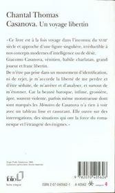 Casanova ; un voyage libertin - 4ème de couverture - Format classique