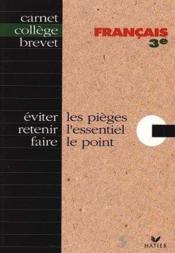 Carnet Memo College Francais 3eme - Couverture - Format classique