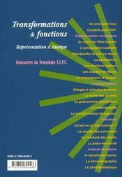 Transformations & Fonctions Representation & Analyses Sciences & Info Prepas - 4ème de couverture - Format classique