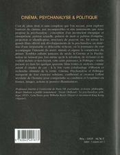 Cinema Psychanalyse & Politique - 4ème de couverture - Format classique