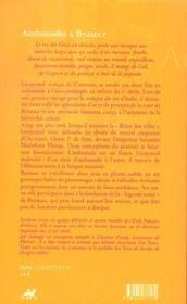 Ambassades a byzance - 4ème de couverture - Format classique