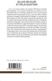 Gilles Deleuze et Félix Guattari ; une rencontre dans l'après Mai 68 - 4ème de couverture - Format classique