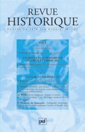 REVUE HISTORIQUE N.643 ; s'habiller et se déshabiller en Grèce et à Rome t.3 - Couverture - Format classique
