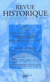 REVUE HISTORIQUE N.643 ; s'habiller et se déshabiller en Grèce et à Rome t.3 - Intérieur - Format classique